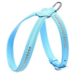 Wonderful Swarovski harness made of blue floater leather - GogiPet Swarovski dog harness