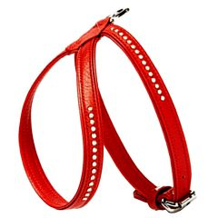 Wonderful Swarovski dog harness made of red floater leather - GogiPet Swarovski dog harness