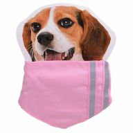 Pink collar with reflective stripes and kerchief