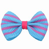 Handmade dog bow tie light blue with pink stripes by GogiPet