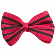Handmade dog bow pink with black stripes by GogiPet