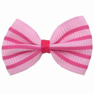 Handmade dog bow pink with pink stripes by GogiPet