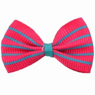 Handmade dog bow pink with turquoise stripes by GogiPet