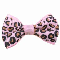 Leopard dog bow - Light pink Hair Bow in Leopard Look