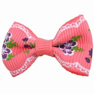 Handmade dog bow pink with flowers by GogiPet