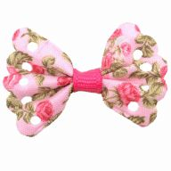 Handmade pet bow pink with roses by GogiPet