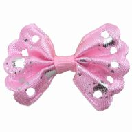 Handmade pet bow light pink with silver dots by GogiPet