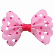 Handmade pet bow pink with pink polka dots by GogiPet
