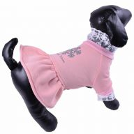 Warm dog dress - pink winter dress for dogs