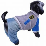 Warm dog divider with leather sleeves gray blue