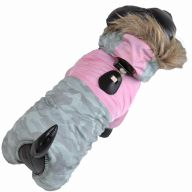 Warm pink camouflage dog coat for the winter
