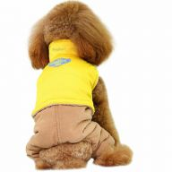 GogiPet ® dog garb for the winter - yellow dog jacket with brown dog pants