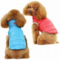 Real down reversible jacket for dogs blue & red - hot dog clothes