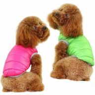 Real down reversible jacket for dogs pink & green - hot dog clothes