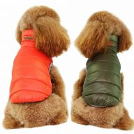 Real down reversible jacket for dogs orange & green - hot dog clothes