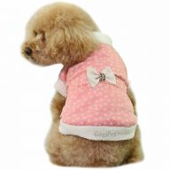 Warm dog coat pink with flowers, polka dots and bow