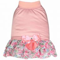 Warm dog dress pink with 3 layered pleated skirt  by GogiPet