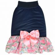 Hot dog dress navy blue with 3 layered pleated skirt by GogiPet