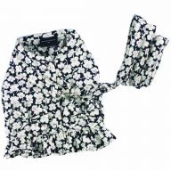 DoggyDolly Soft Breast Harness Black with Flowers - DoggyDolly DCL056