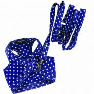 DoggyDolly soft chest harness for dogs, blue with dots - DoggyDolly DCL062