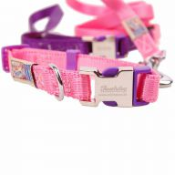 Premium dog collar with free dog leash pink M