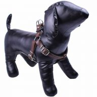 GogiPet ® luxury leather dog harness brown XL - extra soft harness
