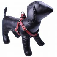 GogiPet ® luxury leather dog harness red XL - extra soft dog harness
