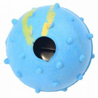 Knobbed, blue rubber ball with bells 5 cm Ø -10 years Onlinezoo birthday special Ø