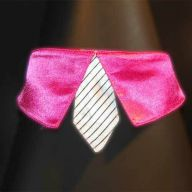 dark pink collar with white tie for dogs - GogiPet ®  size L