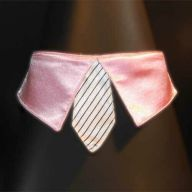 light pink collar with white tie for dogs - GogiPet ®  size L