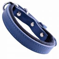 GogiPet ® Comfort leather dog collar blue with 35 cm