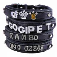 GogiPet ® Individual name dog collar made of real leather black with 35 cm