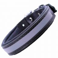 GogiPet ® Reflector leather dog collar black with 35 cm