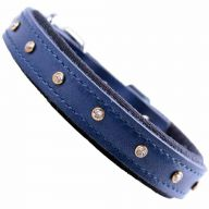 GogiPet ® Swarovski leather dog collar blue with 35 cm