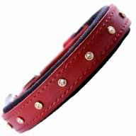 GogiPet ® Swarovski leather dog collar red with 35 cm