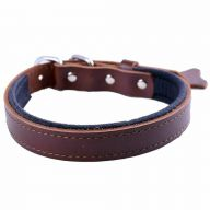 GogiPet ® Comfort leather dog collar brown with 45 cm