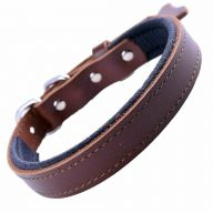 GogiPet ® comfort leather dog collar brown with 40 cm