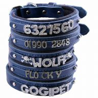 GogiPet ® Individual name dog collar made of real leather blue with 45 cm