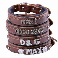 GogiPet ® Individual name dog collar made of real leather brown with 40 cm