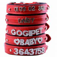 GogiPet ® Individual name dog collar made of real leather red with 40 cm