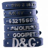 GogiPet ® Individual name dog collar made of real leather blue 50 cm with 3 adapters