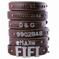 GogiPet ® Individual name dog collar made of real leather brown 55 cm with 3 adapters