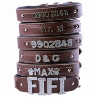 GogiPet ® Individual name dog collar made of real leather brown 50 cm with 3 adapters