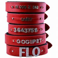GogiPet ® Individual name dog collar made of real leather red 70 cm with 3 adapter