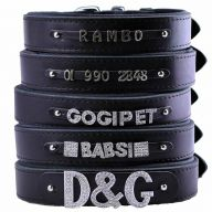 GogiPet ® Individual name dog collar made of real leather black 60 cm with 3 adapters