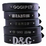 GogiPet ® Individual name dog collar made of real leather black 70 cm with 3 adapter