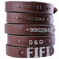 GogiPet ® Individual name dog collar made of real leather brown 60 cm with 3 adapters
