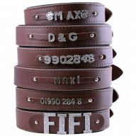 GogiPet ® Individual name dog collar made of real leather brown 70 cm with 3 adapter