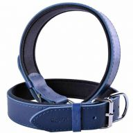 GogiPet ® Comfort leather dog collar blue with 70 cm