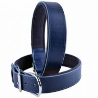 GogiPet ® Comfort leather dog collar blue with 60 cm